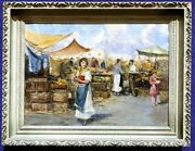 Very Impressive Antique Painting Of Open Market Scene Early 20th Century
