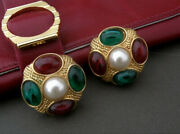 Vintage Gold Tone Clip On Earrings With Gripoix Style