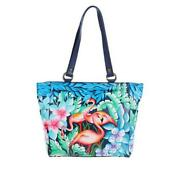 Anuschka Flamingo Fever Painted Leather Large Shoulder Tote - Nwt