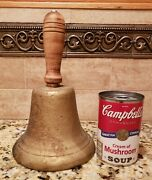 Large Antique Cast Iron School Bell. Hand Turned Handle Orig. Oldhear Video
