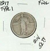 1917 Type 1 Standing Liberty Silver Quarter Fine Nice Coin