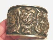 Antique Chinese Miao Ethnic Minority Silver Repousse Large Bracelet Cuff