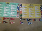 2 Rare Vintage 1980's Nfl Posters Football Mini Pennants Sports Pages Team Chart