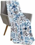 Kate Aurora Tropical Living Coral And Seashells Hypoallergenic Throw Blanket