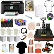 Dye Sublimation Ink Printer 8in1combo Sublimation Heat Transfer Press Tshirt Kit