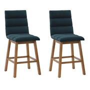 Corliving Boston Channel Tufted Navy Blue Fabric Barstool - Set Of 2