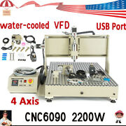 2.2kw Vfd 4 Axis Usb Cnc 6090 Router Engraving Machine Spindle Motor Mill Cutter