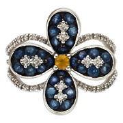 Light And Colorful 18k White Gold Micro Pave Diamond Ring With Blue/yellow...
