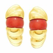 Fashionable Pink Coral Earrings Set In 18k Yellow Gold