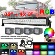 Rgb Strobe 5d Led Light Bar 32 Inch Curved + 4x 3 Pods And Bluetooth Wiring Kits