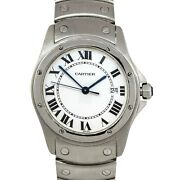 1561 Santos Ronde Stainless Steel White Dial Watch