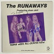 The Runaways Joan Jett And Lita Ford Autograph Signed Mama Weer All Crazee Now 1