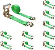 10 Pack 2 X 30and039 Ratchet Tie Down Strap W/j Wire Hook For Flatbed Truck Trailer