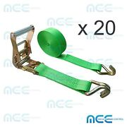 20 Pack 2 X 30and039 Ratchet Tie Down Strap W/ J Wire Hook For Flatbed Truck Trailer