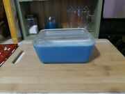 Vintage Pyrex Blue Turquoise Covered Refrigerator Dish 502b And Ribbed Lid 502c
