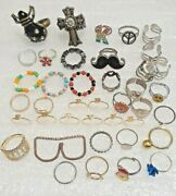 Lot Of 39 Assorted Fashion Rings. Mixed Sizes. Fun To Sort And Share.