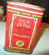 Vintage Fratelli Berio Pure Olive Oil Unopened Advertising Tin Italy One Pint