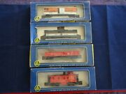 4 Vintage 1960's Ho Ahm Freight Cars In Orig Box Tanker + Caboose + Gondola +box