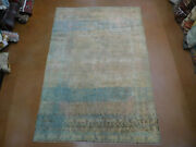 Antique Tabrize Rug Carpet 6.10x10 1930s Unusual Colors Distressed Shabby Chic