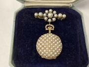 Antique 18k Lapel Watch And Pin Pavee Pearl Diamond. Swiss. Natural Pearls