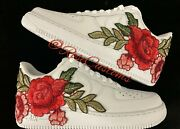 🌹 Nike Air Force 1 07 Low Red Rose Flower Floral White Custom Shoes All Size 🌹