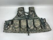 Us Army Acu Molle Fighting Load Carrier Bearing Vest W/ 4 Mag, 4 Grenade Pouches