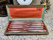 Fine Set 12 French 950 Silver And Inlaid Gold Mother Of Pearl Fruit/dessert Knives