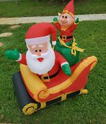 Pre-owned Christmas Inflatable Santa And Elf On Sleigh Led