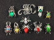 Vintage Enameled Rhinestone Brooch Colorful Bugs Insects Owl More Lot Of 10