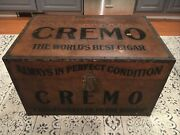 1900and039s Antique Cremo Cigars Metal Humidor Trunk 28 X 18 X 16-1/2 Advertising
