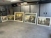 5 Pcs Oil Paintings With Frames, Old Europe, Matching Frames With Matching Pic