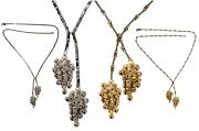 New Grapes Lariat Style Necklace-sterling Silver And Czs Cubic Zirconia Crystals