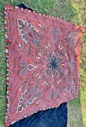 Antique Paisley Shawl Tablecloth Signed Big Heavy Hand Embroidered Border
