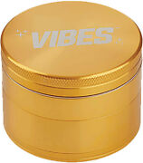Vibes Aerospaced 4 Piece Herb Grinder Metal 2.5 Inch 63mm Gold Pick Tool Inclede