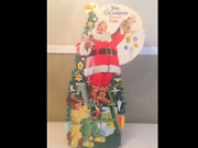 1950s Coca Cola Santa Claus Christmas Stand Up Cardboard Store Display 30tall