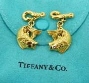 Rare And Co Fish Cufflinks In 18k Yellow Gold Ruby Eyes
