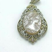 Pink Carved Mother-of-pearl Cameo Sterling Silver Pendant By Gems En Vogue