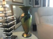 Monumental Lundberg Art Glass Vase Signed And Dated 13 High X 5 1/2