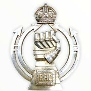 Ww2 British Royal Armoured Corps Sterling Hallmarked Officers Cap Badge 1941