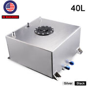 Silver 10 Gallon/40l Drifting Fuel Cell Gas +tank Level Sender Coated Aluminum