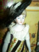 Lovely 6 German Antique Bisque Head Female Dollhouse Doll W/fine Costume And Hat