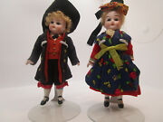 Kestner 6 Bisque Dolls Pair Closed Mouth With Brown Fixed Glass Eyes