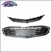 Front Bumper Upperandlower Grille For 2016-2018 Chevy Malibu Honeycomb Mesh Grille