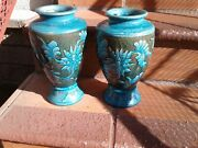 Antique 2 Vases Majolica Match Handmade Big Pottery Blue And Moss Green 11 Inch