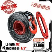Synthetic Winch Rope 92and039 X 1/2 22000lbs + Clevis Hook Hawse Fairlead Red Kit