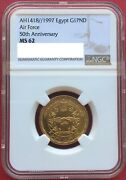 Egypt , Gold 1 Pound 1997 Air Force 50th Anniversary Ngc Ms 62 , Extremely Rare