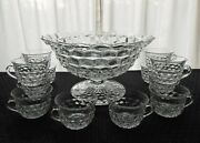 Fostoria Glass Clear American Stem 2056 Tom And Jerry Punch Bowl And Cups Set