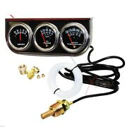 2 And039and039 Chrome Black Faced Mechanical Oil Pressure Water Amps Triple Gauge Kit