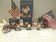 Gnomy Diaries Patriotic Collection 4 Figurines With Box