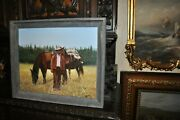 Powerful Americana Cowboy Outfitter With Pack Horses Signed